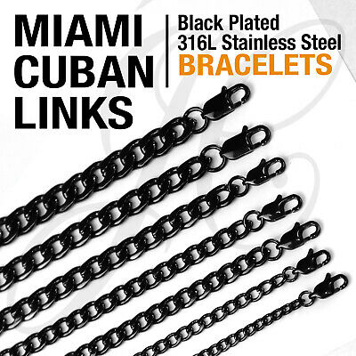 Black Plated Stainless Steel 316L Miami Cuban Links Bracelets 4-10mm Men Women