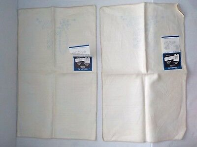 Vintage printed for embroidery linen placemats hand towels pair set of 2