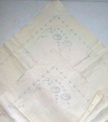 Vintage printed for embroidery linen napkins pair set of 2