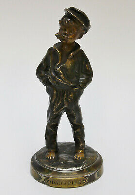 Attractive Spelter Figure of a Boy Smoking His Dads Pipe 18cm High
