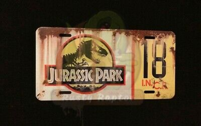 Distressed Jurassic Park #18 Customized Prop License Plate For Jeep