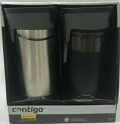 Contigo Autoseal Spill-Proof Hot Cold Stainless Steel Travel Mugs 2 pack