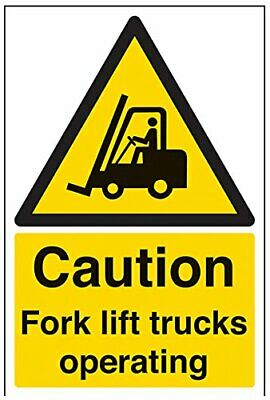 VSafety Caution Fork Lift Trucks Operating Warning Sign - 200mm x 300mm - Self A