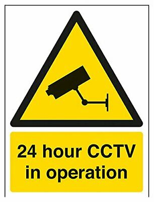 VSafety 6E050AN-W24 Hour CCTV In Operation Warning Security Sign, Window Sticker