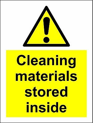 Warning Cleaning materials stored inside safety sign - Self adhesive sticker 200