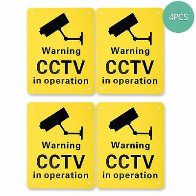 4 Pack Pre-Drilled CCTV Warning Signs CCTV in Operation Signs, Plastic Signs for