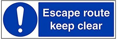 VSafety Escape Route Keep Clear Sign - 600mm x 200mm - 1mm Rigid Plastic