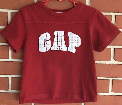 BABY GAP Red T-Shirt With Plaid Applique G A P On Front Of Garment Size 3 Years