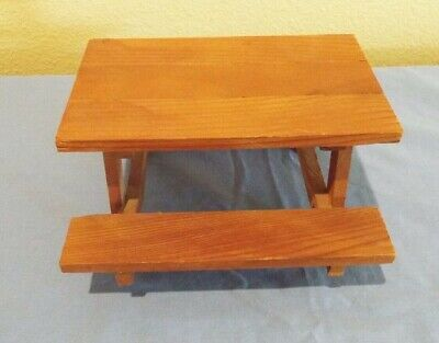 Dollhouse Miniature Wood Picnic Table 1:48 1//4 quarter scale D17 Dollys Gallery