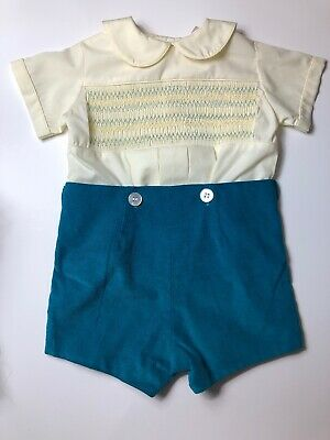 4db6c6be14ad Smocked Royal Heirloom Boys Vintage Shortall Jon Jon Romper Size 2 Church