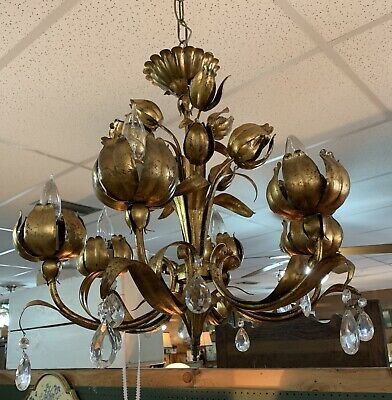 Vintage Italian Chandelier Italy Tole Gold Gilt Prisms Hollywood Regency