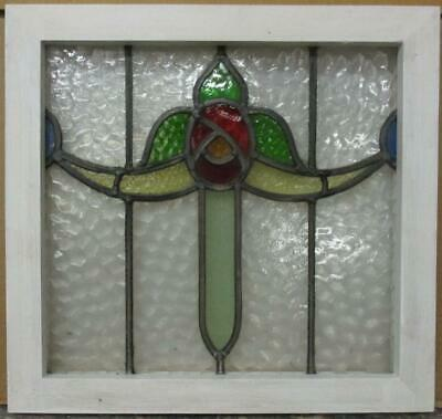 "OLD ENGLISH LEADED STAINED GLASS WINDOW Pretty Floral Swag 18.25"" x 17.25"""