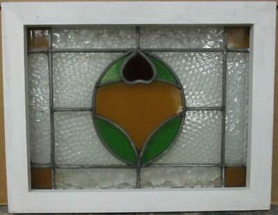 "OLD ENGLISH LEAD STAINED GLASS WINDOW Gorgeous Bordered Abstract 18.75"" x 14.75"""