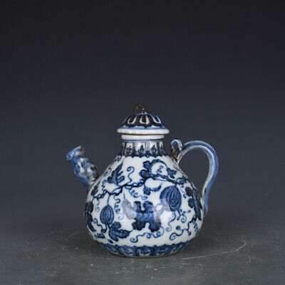 "6"" Chinese antique Porcelain Ming yongle blue white Fruits Pear shape Teapot"