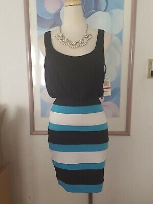 Women's New $59 Xoxo Black White Turquoise Dress Size Xs