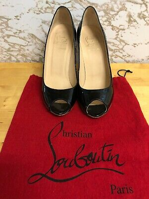 new arrival 19094 86021 CHRISTIAN LOUBOUTIN BLACK Patent Leather Peep Toe Espadrille Wedges 35