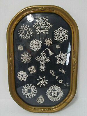 Beautiful Vintage Framed Crochet Folk Art Picture