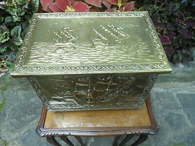 Older Brass Solid Metal Coal Hod Kindlin Firewood Toy Box From England
