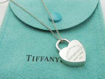 a07b0492c Authentic TIFFANY & CO Silver Return to Tiffany Heart Lock Pendant Necklace