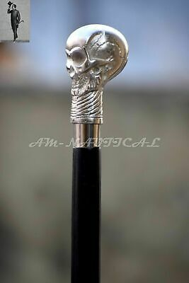 0 BSilver skull Head Handle Wooden Walking Cane Stick Antique Style Vintage Gift