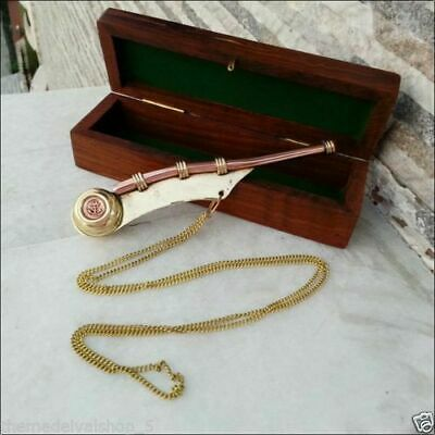 "5.5"" Brass Copper Boatswain Whistle w Wooden Box Bosun Call Pipe Maritime Gift"