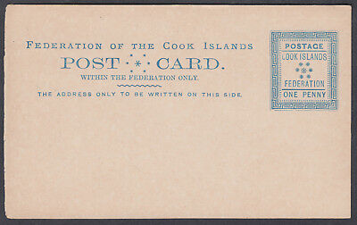 Cook Islands Federation Unused 1d Stationery Postcard