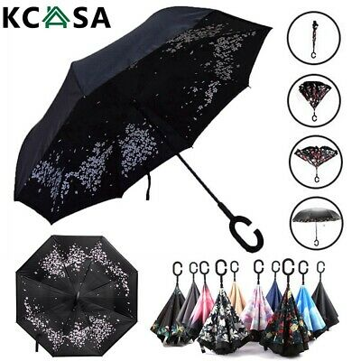 Windproof Upside Down Reverse Umbrella Double Layer Inverted Inside-Out C-Handle