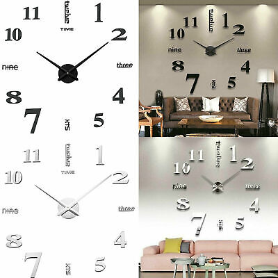 Large 3D Design Wall Clock Luxury Mirror Home Decoration DIY Bedroom 2 Colors UK