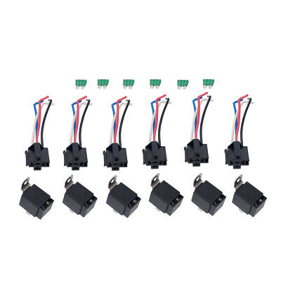 6pcs 12v 5-pin bosch car relay switch harness set 30amp fuse 14awg hot wire