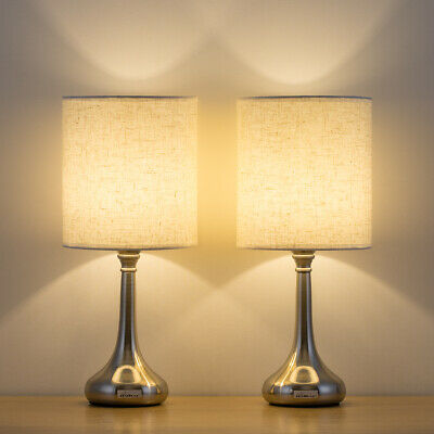 Modern Bedside Table Lamp Set of 2 White Fabric Shade Nightstand Lamp Bedroom