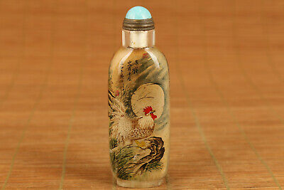 chinese Natural old Crystal hand inside painting  chicken snuff bottle