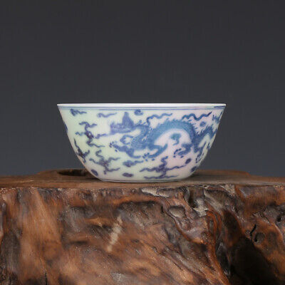 "3"" China old Porcelain Ming chenghua mark Pearl glaze blue white dragon cup bowl"