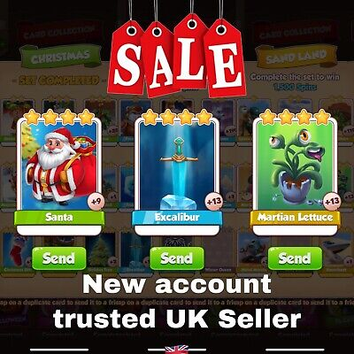 Coin master Card Super Bundle Martian Lettuce Santa and Excalibur! UK Seller🇬🇧