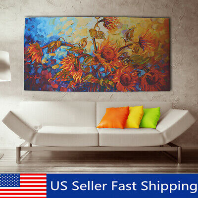 120x60cm Abstract Flower Canvas Print Art Oil Painting Home Wall Decor  US
