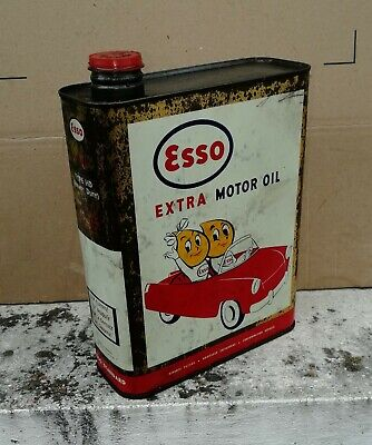 bidon huile ancien  ESSO cabriolet bandeau rouge  Öl dose oil can tin collection