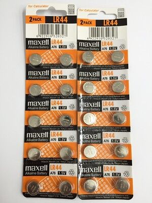 20 Pieces Maxell LR44  (A76/AG13) 1.5V Alkaline Button Cell Batteries - Free Shi