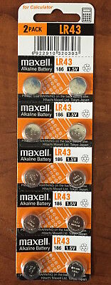 10 Pieces Maxell LR43 (186) 1.5V Alkaline Battery - Free Shipping