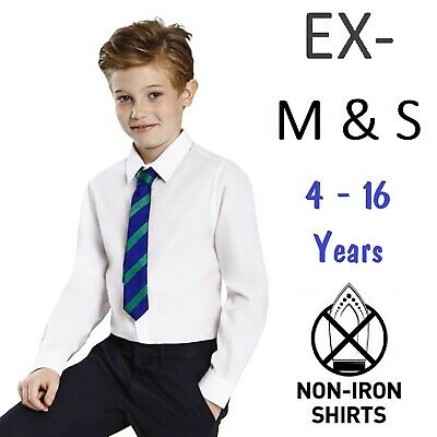 (PACK OF 2) Ex M&S Boys School Shirt White Short Long Sleeve Non Iron Ages 2-16