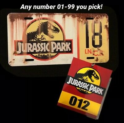 Distressed Jurassic Park Customizable Prop License Plate For Jeep Any Number