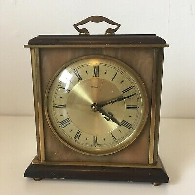 Vintage Metamec Wood Brass Marble Mantle Clock Electric Operated Spares Repairs