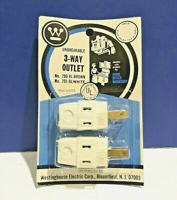 10-PK Westinghouse IVORY WHITE Single Vinyl Cube Tap 3-Way Outlet 791BL NEW Wow!