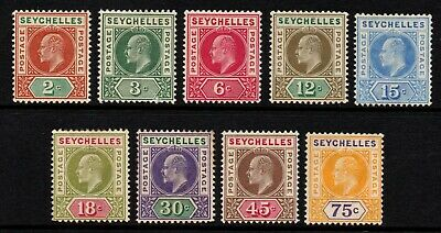 Seychelles 1903 King Edward VII part set to 75c., MH (SG#46/54)