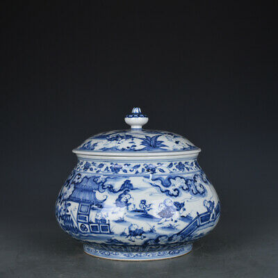 "7"" Chinese antique Porcelain Ming xuande mark blue white Children cover jar pot"