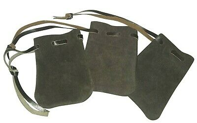 LARP Leather Draw String Pouch Bag Money Dice Reenactment Black and Brown 7x10cm