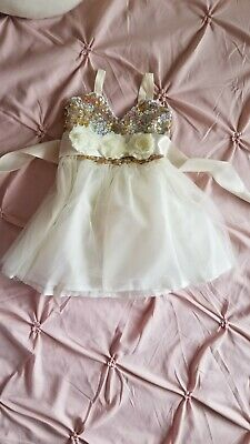 Girls Kids Gold Baby Sequins Ballet Party Pageant Wedding Tutu Tulle Dress