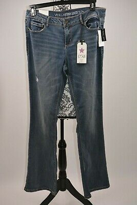 e7d1ac68aac Vanilla Star Women's Ripped Med Wash Bootcut Jeans Low Rise Size 13
