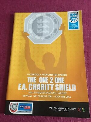 Liverpool v Manchester United Man Utd 12/08/01 Charity Shield Programme & Ticket
