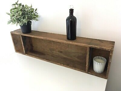 Vintage Industrial Wood Wooden Box Tray Shelf Rustic Stand Display
