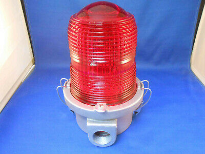 0B-1 Molded Dimensions Red Glass Aircraft Light Marker Aluminum Base  Nos