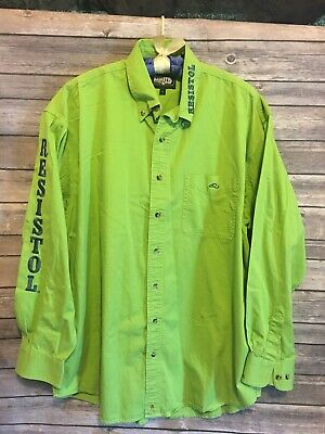 bfb5e8485cea Resistol Rodeo Gear Mens Green/ Blue Letter Western Long Sleeve Shirt Size  Large